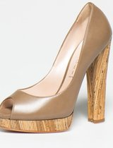 Taupe Brown Leather Shoes-Casadei