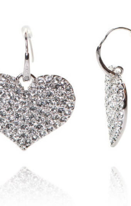 Дамски Обеци Heart Shaped Earrings with Crystals - Guess