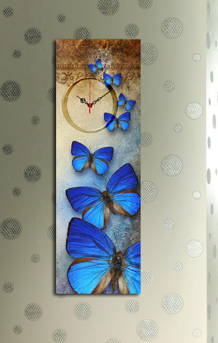 Wallity Canvas Wall Clock With Butterfies Print
