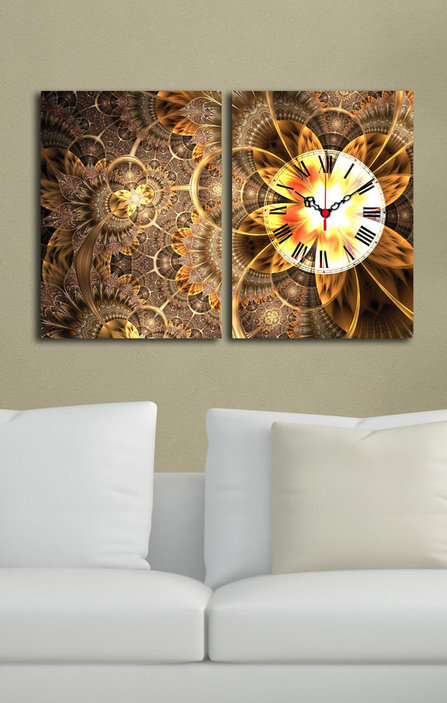Wallity Diptych Canvas Wall Clock With Graphic