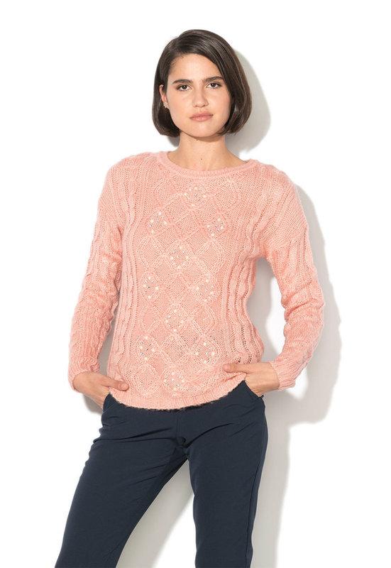 Пуловер с плетка осморка и мъниста-Alcott