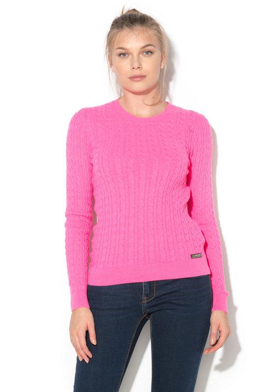 Пуловер с плетка осморка-SUPERDRY